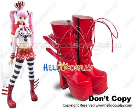 One Piece Cosplay Shoes Perona Bright Red Boots