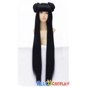 Wig 100CM Cosplay Loli Straight Long Ancient Double Buns Pure Black