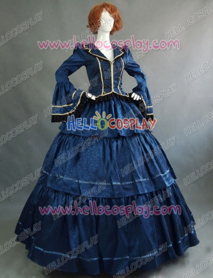 Victorian Lolita Civil War Evening Gothic Lolita Dress Royal Blue