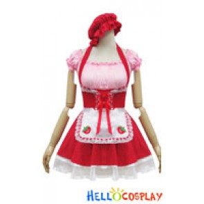 Angel Feather Cosplay Cute Strawberry Maid Dress