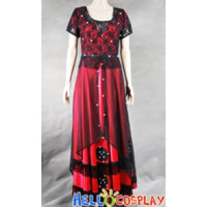 Titanic Rose Cosplay Costume Red Jump Dress
