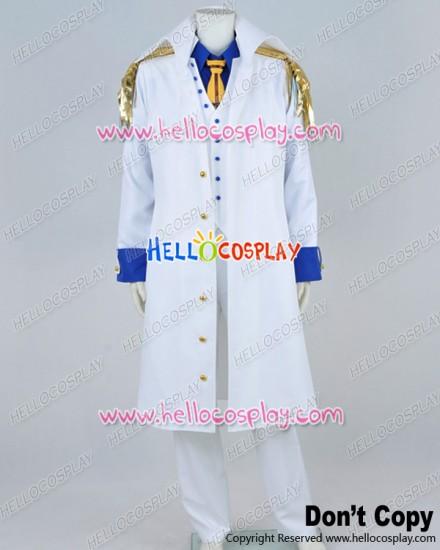 One Piece Cosplay Admiral Sakazuki Aokiji Kuzan Costume White Vest Coat