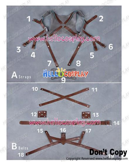 Attack On Titan Shingeki No Kyojin Cosplay Costume Artificial Leather Belts Straps