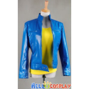 Smallville Supergirl Cosplay Blue Leather Jacket Shirt Costume