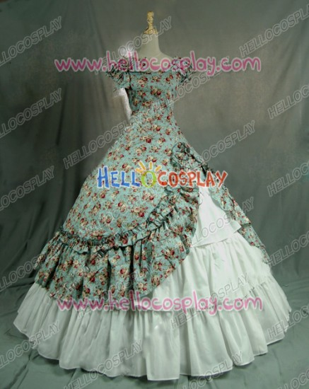 Victorian Lolita Southern Belle Theatre Gothic Lolita Dress Green Floral