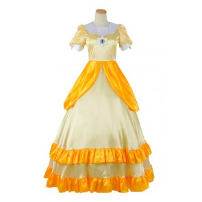 Super Mario Bros Cosplay Princess Daisy Dress Costume