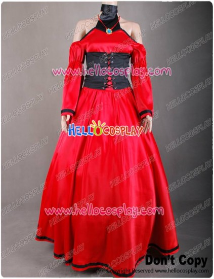 Vocaloid Meiko Cosplay Costume Red Dress Gown