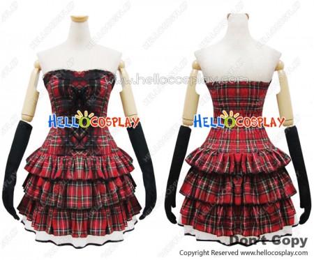 Angel Feather Cosplay Lolita Scottish Red Plaid Dress Costume