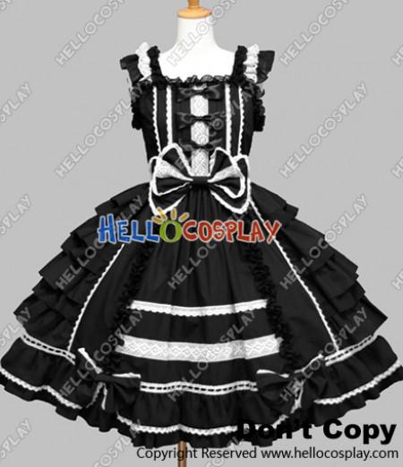 Gothic Punk Lolita Black Frill Dress