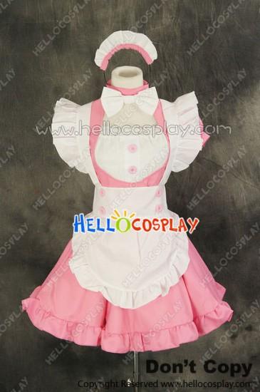 Maid Cosplay Pink White Dress Sweet Costume