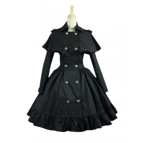 Gothic Lolita Cosplay Victorian Cape Reenactment Steampunk Stage Black Dress Costume