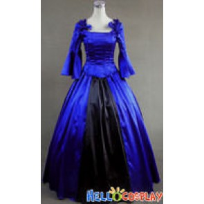 Colonial Lolita Ball Gown Prom Blue Wedding Dress