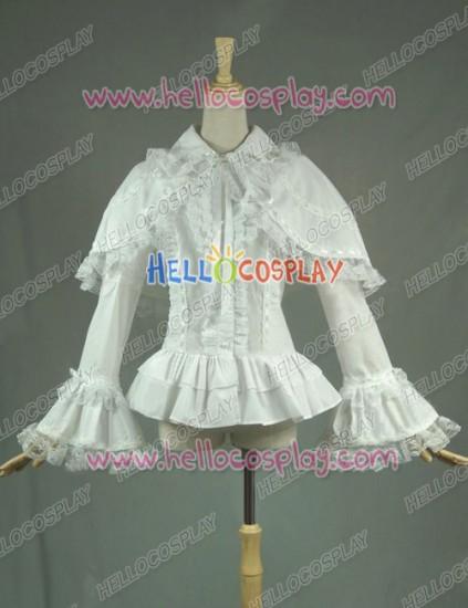 Victorian Lolita Reenactment Lace Ruffle Blouse Gothic Lolita Dress White