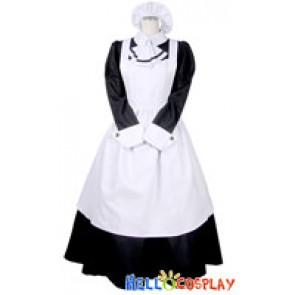 Victorian Long White Black Cosplay Maid Dress Costume