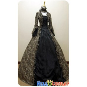 Victorian Lolita Reenactment Stage Antique Gothic Lolita Dress Black Floral