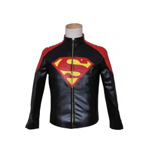 Smallville Clark Kent Cosplay Black Red Leather Jacket Coat Costume