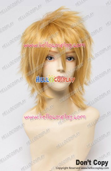 Panty & Stocking With Garterbelt Cosplay Wig 30CM Boy Version Golden Yellow Universal Layered Short