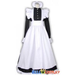 Classic Pearl Long White Black Cosplay Maid Dress Costume