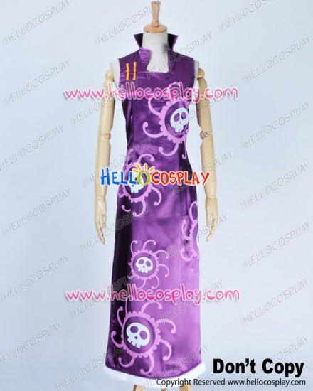 One Piece Cosplay Pirate Empress Boa Hancock Purple Cheongsam Dress Costume