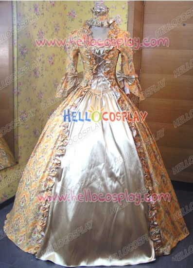 Victorian Lolita Reenactment Stage Antique Gothic Lolita Dress Maize Floral