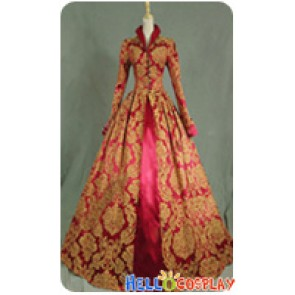 Victorian Lolita Queen Elizabeth Tudor Historical Gothic Lolita Dress Burgundy Floral