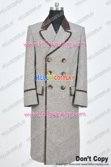 Doctor 4th Fourth Dr Tom Baker Cosplay Costume Wenge Brown Trench Coat