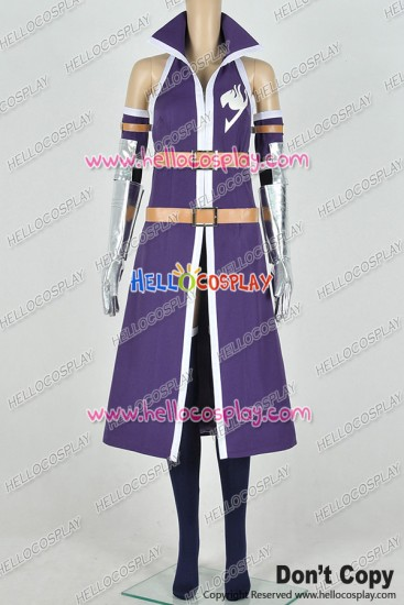 Fairy Tail Cosplay Titania Erza Scarlet Costume Purple Combat Uniform