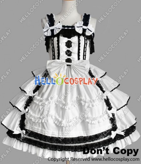 Sweet Lolita Gothic Punk Gorgeous Ruffle White Dress