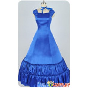Southern Belle Satin Evening Gown Blue Ribbon Lolita Dress