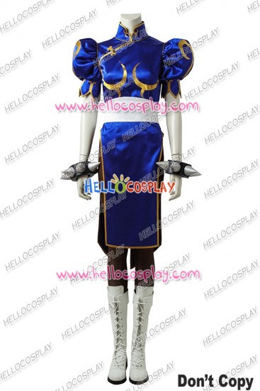 Street Fighter Chun Li Cosplay Costume Blue Uniform