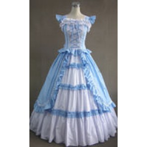 Victorian Gothic Lolita Cotton Sky Blue Dress Ball Gown