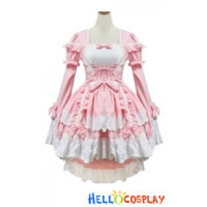 Angel Feather Cosplay Lolita Bonzer Swallowtail Pink Maid Dress