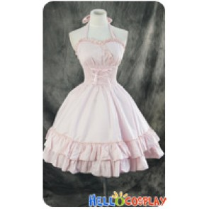 Gothic Lolita Dress Cosplay Costume Cute Light Pink