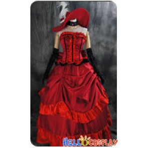 Black Butler Cosplay Madam Red Dress Costume With Hat