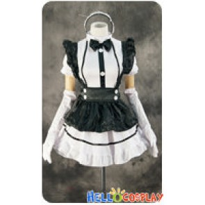 Maid Cosplay White Hairband Black Apron Dress Costume