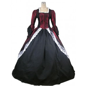Marie Antoinette Victorian Dark Red Wedding Dress Ball Gown Prom
