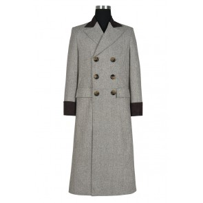 Doctor 4th Fourth Dr Tom Baker Brown Trench Coat Cosplay Costume