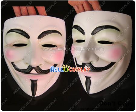 V For Vendetta Cosplay White Mask Halloween Prop