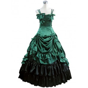 Southern Belle Lolita Ball Gown Prom Green Satin Dress