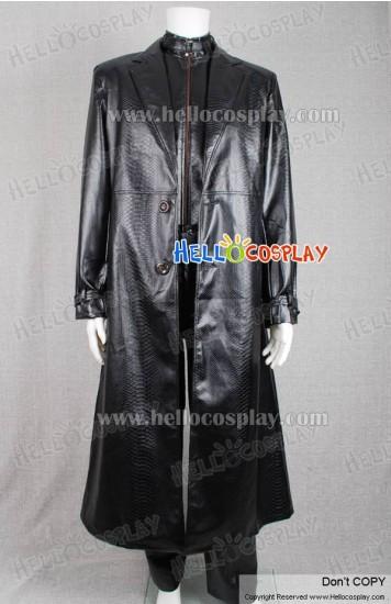 Resident Evil 5 Cosplay Albert Wesker Costume Leather Coat Black
