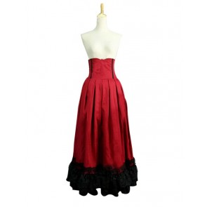Victorian Lolita Edwardian Period Pleated Skirt Punk Lolita Dress Red