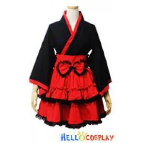 Angel Feather Cosplay Lolita Black Red Kimono Maid Dress
