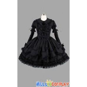 Gothic Lolita Punk Gorgeous Black Frill Dress