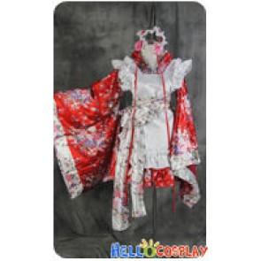 Lolita Cosplay Red Flowers Japan Kimono Maid Dress Costume