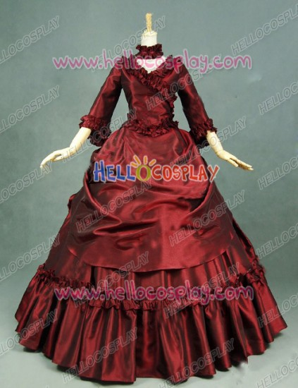 Victorian Lolita Bustle Period Reenactment Gothic Lolita Dress Burgundy