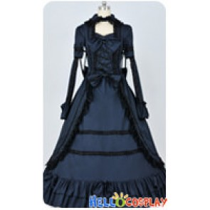 Renaissance Gothic Cotton Black Dark Blue Ball Gown Lolita Dress