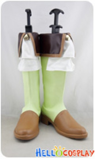 Love Live Cosplay Shoes Rin Hoshizora Boots Green Brown