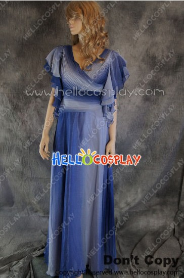 Party Cosplay Blue Chiffon Ball Gown Formal Dress Costume