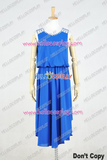 Lolita Dress Daily Gothic Lady Party Blue Chiffon Cosplay Costume