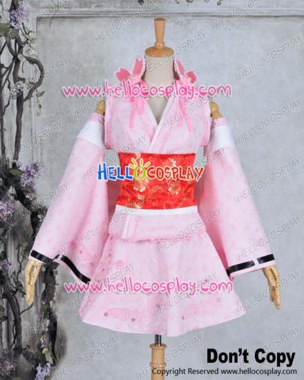 Vocaloid 2 Cosplay Hatsune Miku Cherry Kimono Costume Dress